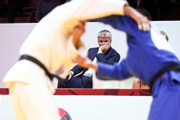 Russia's Sports Minister Pavel Kolobkov attends an international judo tournament in Vladivostok