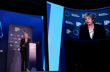 Britain's Prime Minister Theresa May speaks at the Bloomberg Global Business Forum in New York