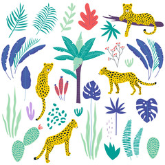 Seamless pattern with leopards and tropical leaves. Vector