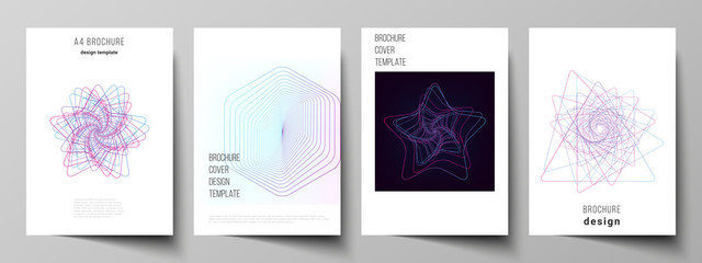 Vector layout of A4 format cover mockups design templates for brochure, flyer, booklet, report. Random chaotic lines that creat real shapes. Chaos pattern, abstract texture. Order vs chaos concept.