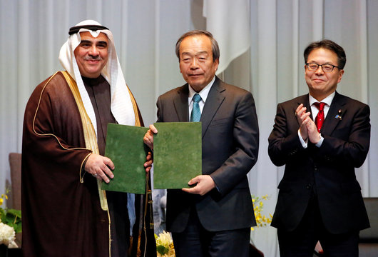 Fakeih, Saudi Economy and Planning Minister, Toyota Motor Corp. Chairman of the Board of Directors Uchiyamada and Japan's Minister of Trade and Industry Seko attendSaudi-Japan Vision2030 Business Forum in Tokyo