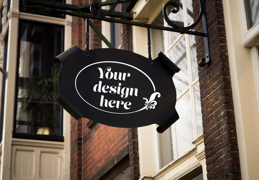 Outdoor Hanging Iron Sign Mockup