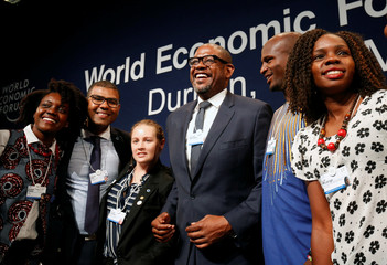 Actor Whitaker poses for a photograph after participating in a discussion at the World Economic Forum on Africa 2017 meeting in Durban