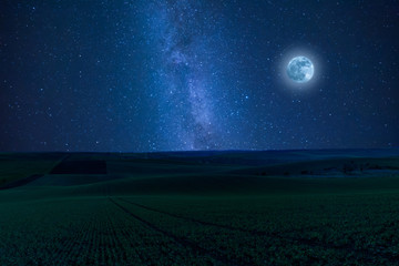 Nidht landscape with fields and moon