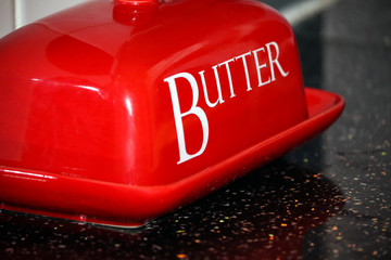 Red butter dish