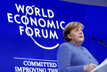 German Chancellor Angela Merkel attends the World Economic Forum (WEF) annual meeting in Davos