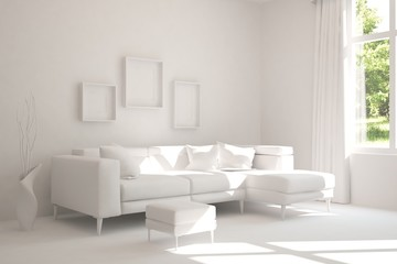 Stylish room in white color with sofa and green landscape in window. Hight resolution image. Scandinavian interior design. 3D illustration