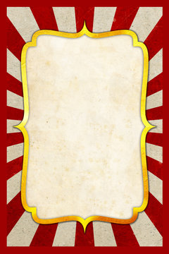 Circus Carnival vintage poster background with golden frame