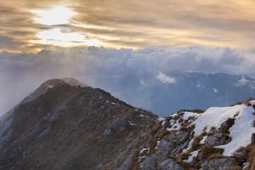 mountain landscape in sunset