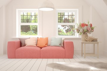 White stylish minimalist room with coral sofa and summer landscape in window. Scandinavian interior design. 3D illustration