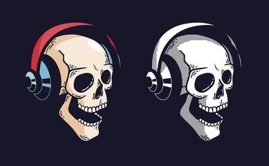 Skull in headphones on a dark background