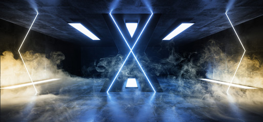 Smoke Sci Fi Neon Alien Futuristic Reflective Grunge Concrete Empty Hall Corridor  Fluorescent Luxurious Luminous  Glowing Blue Yellow Lights Arrows 3D Rendering