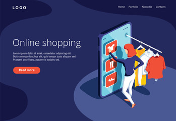 Sale, consumerism and people concept. Young woman shop online using smartphone. Landing page template.