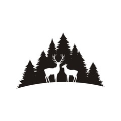 Silhouette of a deer with horns and forest