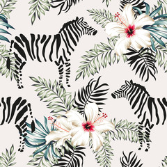Tropical zebra animal, white hibiscus flowers, palm leaves, white background. Vector seamless pattern illustration. Summer beach floral design. Exotic jungle plants. Paradise nature