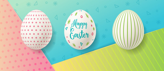 Wall Mural - Easter eggs on colorful paper background with cute pattern