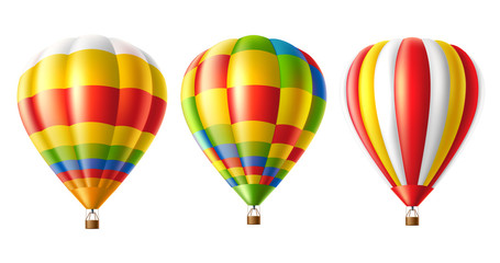 Vector hot air balloon colorful set isolated