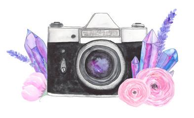 Watercolor camera flower