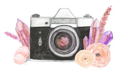 Watercolor camera flower 18
