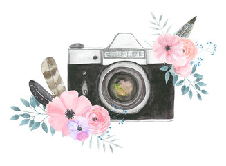Watercolor camera flower 27