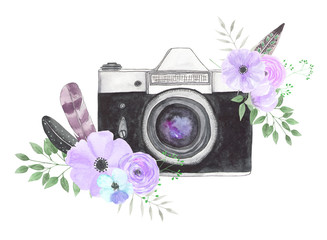 Watercolor camera flower 28