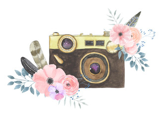 Watercolor camera flower 31