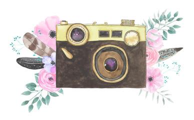 Watercolor camera flower 33