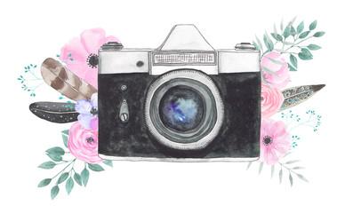 Watercolor camera flower 34