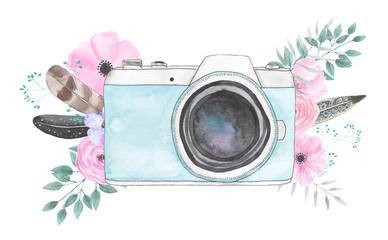 Watercolor camera flower 35