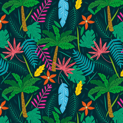 Tropical background with palms and exotic leaves