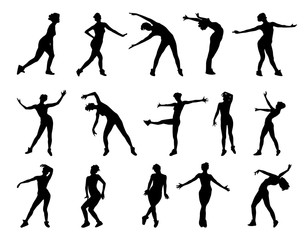 Collection of vector silhouettes of dancing girls  isolated on white background.