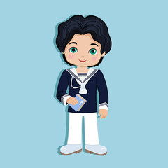 Set of design elements for First Communion for boys. Spanish sailor.