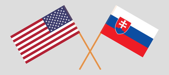 Slovakia and USA. The Slovakian and United States of America flags. Official colors. Correct proportion. Vector
