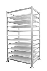 Empty market or warehouse metal rack and  shelf in 3D perspective isolated on white background
