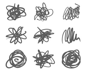 Set of Scribble Stains Hand drawn in Pen, vector logo design elements