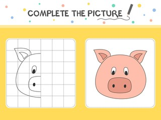 Complete the picture of a pig. Copy the picture. Coloring book. Educational game for children. Cartoon vector illustration.