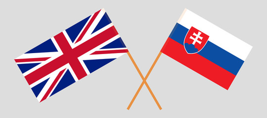 Slovakia and UK. The Slovakian and British flags. Official colors. Correct proportion. Vector