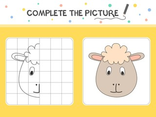 Complete the picture of a sheep. Copy the picture. Coloring book. Educational game for children. Cartoon vector illustration.