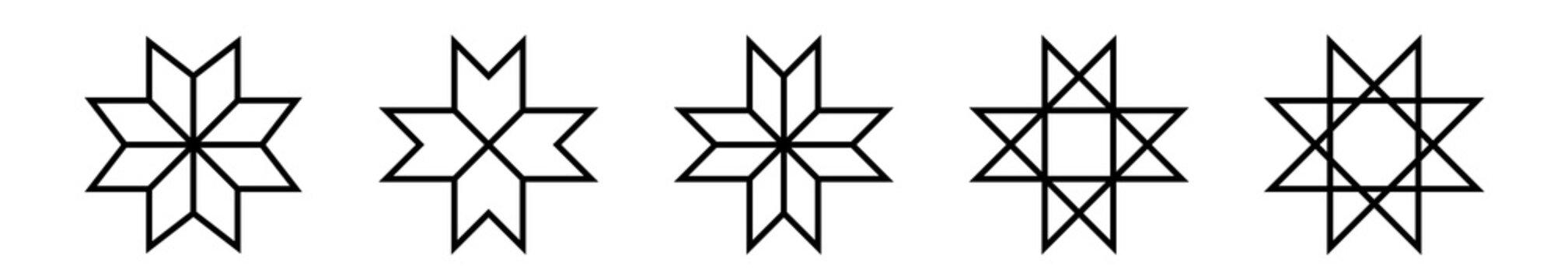 Set of ethnic baltic cross ornamental symbols. Vector illustration.