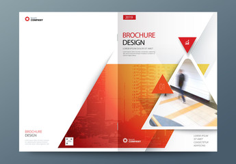 Red Business Report Cover Layout with Triangles
