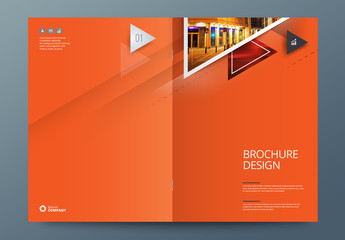 Orange Business Report Cover Layout with Big Triangles