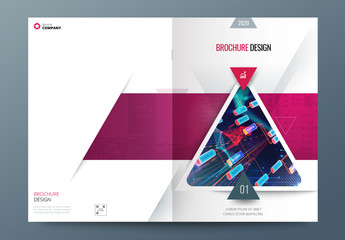 Pink, Yellow and Blue Business Report Cover Layout with Triangles