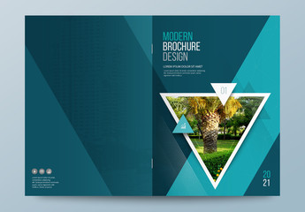 Teal Business Report Cover Layout with Triangles