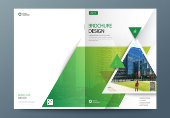 Green Business Report Cover Layout with Triangles