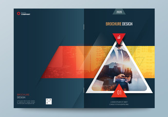 Dark Business Report Cover Layout with Triangles