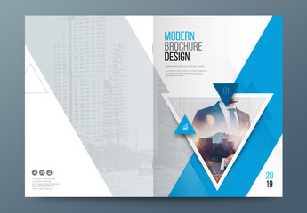 Blue Accent Business Report Cover Layout with Triangles