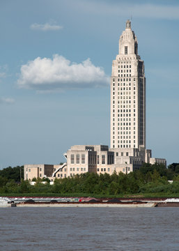 Louisiana State Capitol building as seen from across the Mississippi river., Baton Rouge, Louisiana, USA