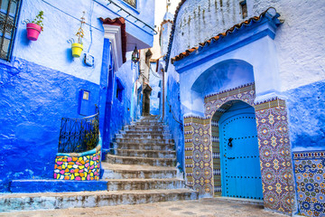 Poster Morocco Amazing view of the street in the blue city of Chefchaouen. Location: Chefchaouen, Morocco, Africa. Artistic picture. Beauty world