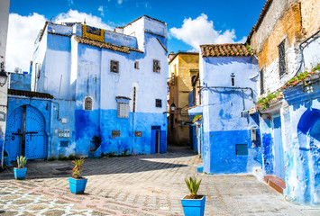 Photo sur Plexiglas Maroc Amazing view of the street in the blue city of Chefchaouen. Location: Chefchaouen, Morocco, Africa. Artistic picture. Beauty world