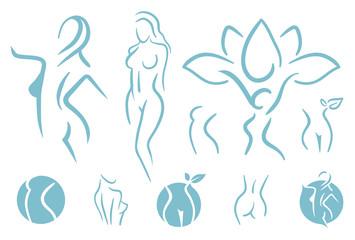 Women fitness logo icon. Sports, health, spa, yoga, beauty vector logo. Woman silhouette logo. Diet logo. Spa salon logo